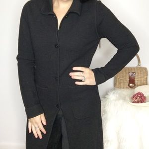 Garnet Hill 100% Merino Wool Long Cardigan Sweater